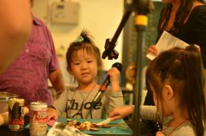 Kids' loved banging on our pots and pans, especially when they were mic up to a visualizer (in our sounds + circuit Lab)